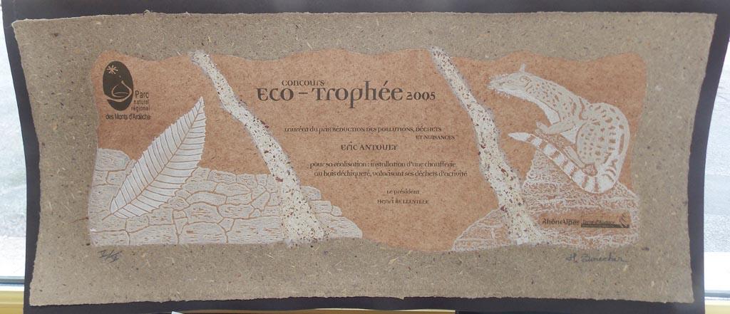 Eric Antouly a été lauréat de l'éco-trophée 2005 du PNR des Monts d'Ardèche